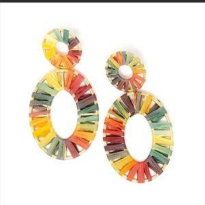 ❗️NEW ❗️Colorful Raffia Oval Shaped Earrings NWT